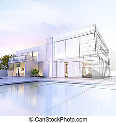 Wireframe villa - 3D rendering of a luxurious villa with...