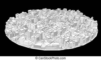 Wireframe white city build abstract architectural