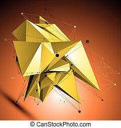 wireframe, złoty, techniczny, obiekt, formułować, polygonal, pla, przestrzenny