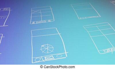 wireframing, gradient, fond, app, concept, animation, développement