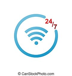 wireless and 24/7 symbol. vector illustration design.
