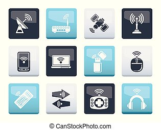 Wireless and communication technology icons over color background