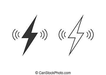 Wireless charging vector line icon set isolated on white background