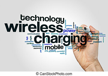 Wireless charging word cloud concept - Wireless charging...