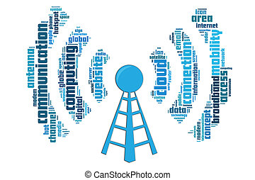 Wireless communication concept made by typography with...