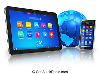 Wireless communication concept: tablet PC and touchscreen...