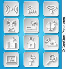 Wireless communication network icons set