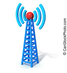 Wireless communication tower - Blue wireless communication...