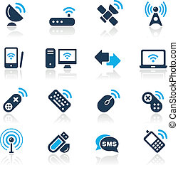 Wireless & Communications/ Azure - Vector icons for your...