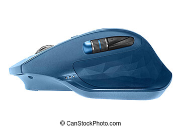 Wireless computer mouse. Blue color. Isolated on white background