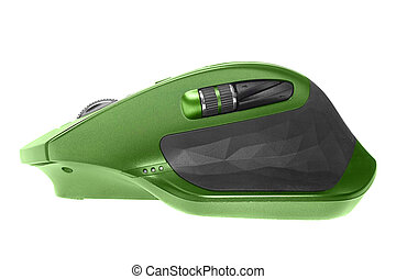 Wireless computer mouse. Green color. Isolated on white background