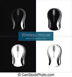 Wireless Computer Mouse on White and Black Background.
