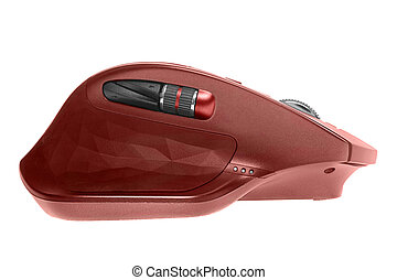 Wireless computer mouse. Red color. Isolated on white background