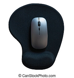 Wireless computer mouse with mouse-pad isolated on white background with clipping path. Top view, Selective focus