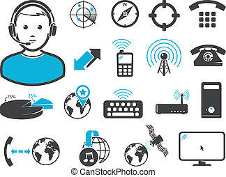 Wireless connection technologies, icons and signs, set