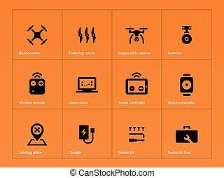 Wireless drone icons on orange background.