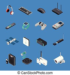Wireless Electronic Devices Isometric Icons