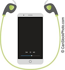 WIreless fitness headphones with a smartphone