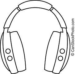 Wireless headphones icon, outline style