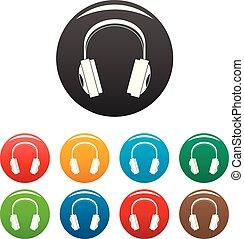 Wireless headphones icons set color