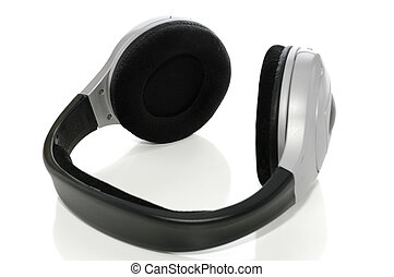 Wireless headphones on white with clipping path