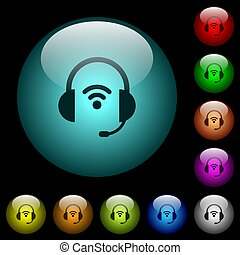 Wireless headset icons in color illuminated glass buttons