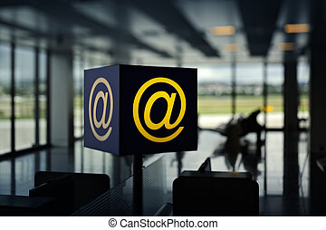 Wireless Hot Spot in airport - Internet sign inside Airport...
