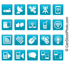 Wireless icons on blue squares