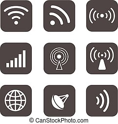 Wireless icons set white silhouettes on black background
