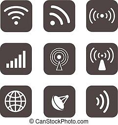 Wireless icons set white silhouettes on black background