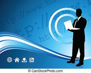 Wireless internet background with modern businessman