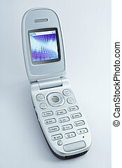 wireless - kabellos - cell phone with shiny display on white...