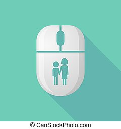Wireless long shadow mouse icon with a childhood pictogram