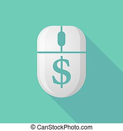 Wireless long shadow mouse icon with a dollar sign - ...