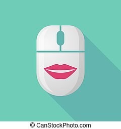 Wireless long shadow mouse icon with   a female mouth smiling