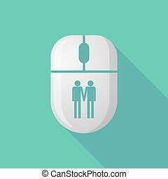 Wireless long shadow mouse icon with a gay couple pictogram