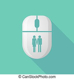 Wireless long shadow mouse icon with a heterosexual couple pictogram