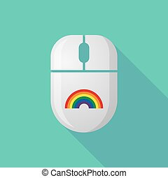 Wireless long shadow mouse icon with a rainbow