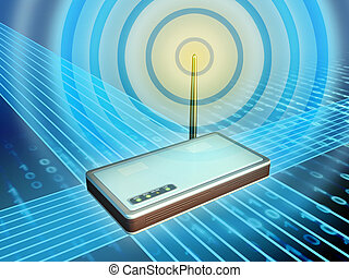 Wireless modem transmitting digital data. Digital illustration.