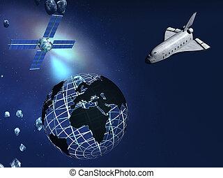 Wireless money transfer. - Space shuttle, satellite...