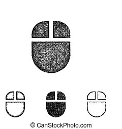 Isolated line art folder icon with a wireless mouse.... vectors ...