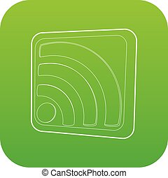 Wireless network sign icon green vector