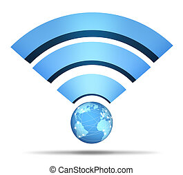 Wireless Network Symbol and global communication mobile ...