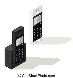 Wireless phone isometric icon set
