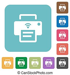 Wireless printer rounded square flat icons