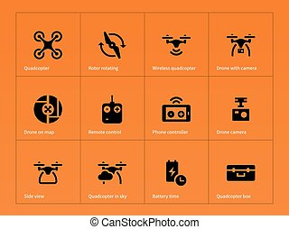 Wireless quadcopter and drone icons on orange background.