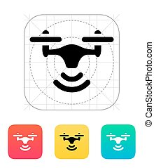 Wireless quadcopter icon. Vector illustration.
