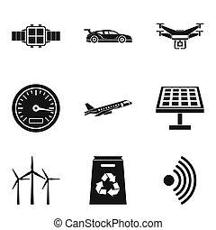 Wireless radio icons set, simple style