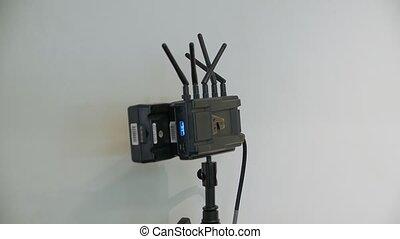 Wireless receiver technology closeup camera movement