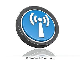 Wireless round icon in blue